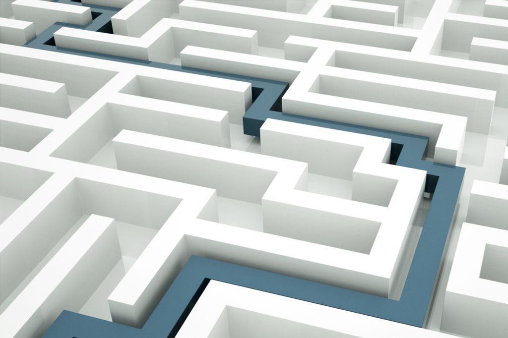 Maze with blue line through it. https://connygraf.com #grafetized