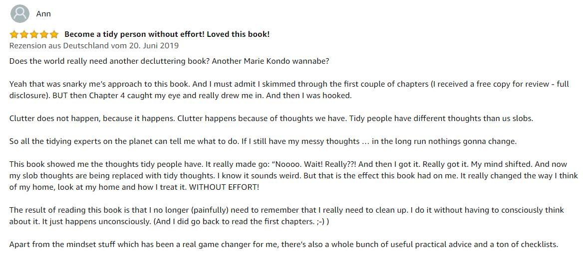 Testimonial Ann in Amazon DE